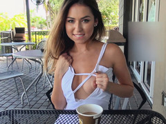 Teen brunette Melissa Moore making an amazingly hot deep blowjob in an one on one action