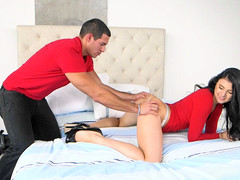 Dark-haired waitress Kallie Joe takes friend\'s suggestion and sleeps over with big-dicked dude